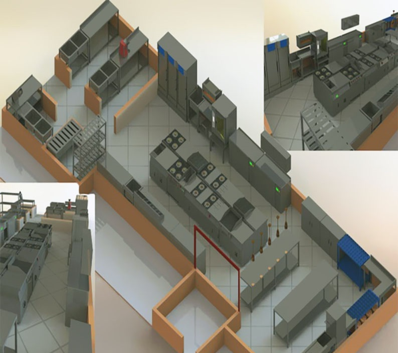 طراحی سه بعدی آشپزخانه صنعتی